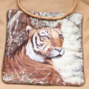 vintage quilted tiger tote bag w bamboo handles